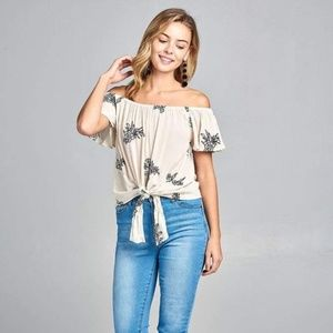 Flounce Off The Shoulder Floral Embo Top